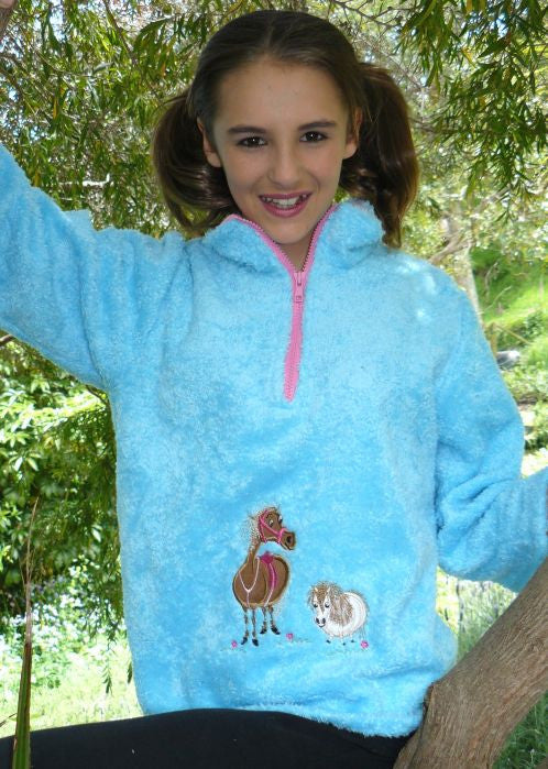 Seesaw fleece tops - turquoise pony