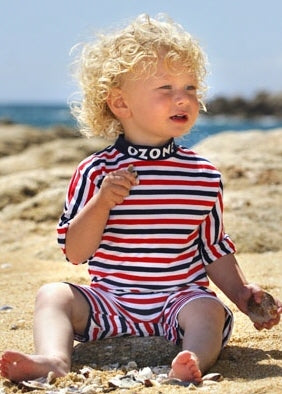 Sposh sunsuits - apple stripe
