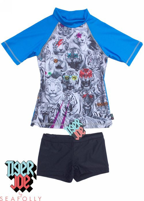 Tiger Joe UV rash tops - blue smog