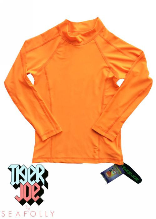 Tiger Joe UV rash tops - orange long sleeve