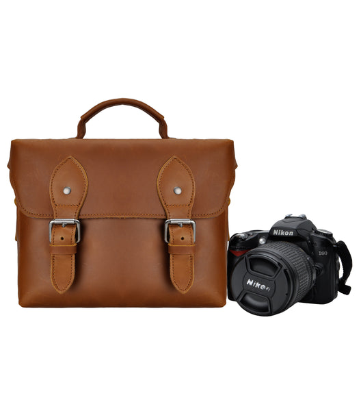 Handmade Small Leather Camera Bag Vintage Retro Look