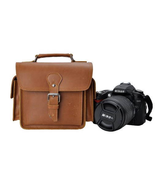 Brown Leather Camera Bag Vintage DSLR SLR Bag Removable Shockproof Padded Camera Case Small Messenger Shoulder Bag Satchel