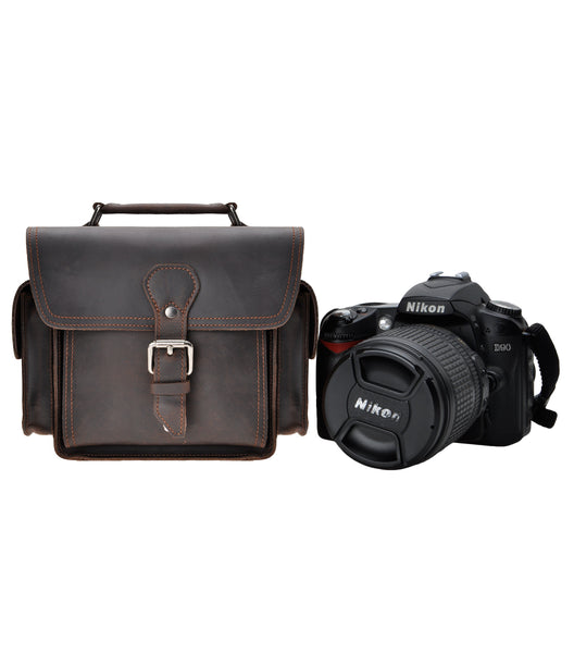 Coffee Leather Camera Bag Vintage DSLR SLR Bag Removable Shockproof Padded Camera Case Small Messenger Shoulder Bag Satchel