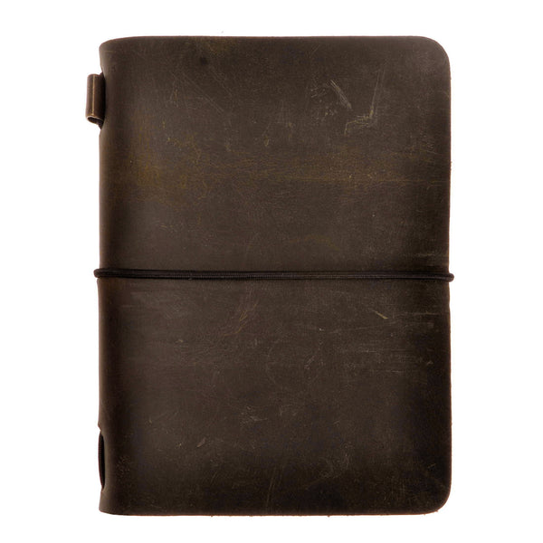 Vintage Handmade Refillable Dark Coffee Leather Passport Size Travelers Journals Diary Notepad Notebook
