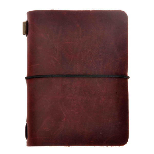 Vintage Handmade Refillable Dark Red Leather Passport Size Travelers Journals Diary Notepad Notebook
