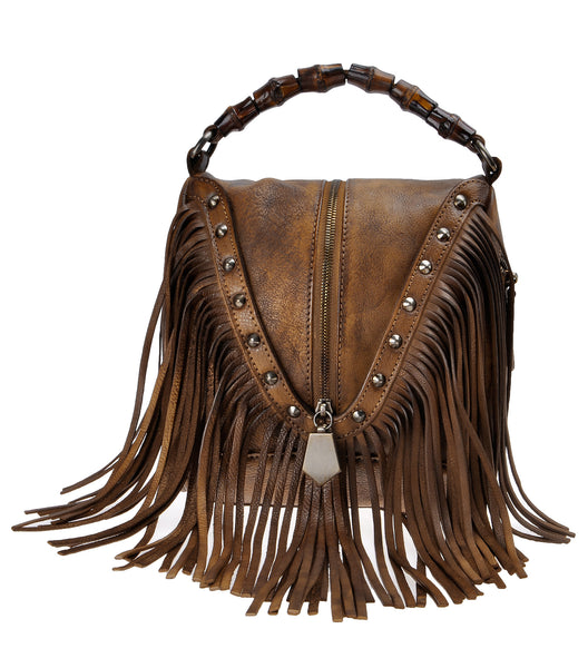 Women's Leather Bamboo Hand Strap Featured Fringe Bohemian Tassel Studed Cross Body Bag
