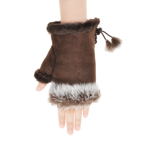 ZLYC Women's Teen's Classic Warm Hands Wrist Fingerless Gloves with Adjustable Drawstring