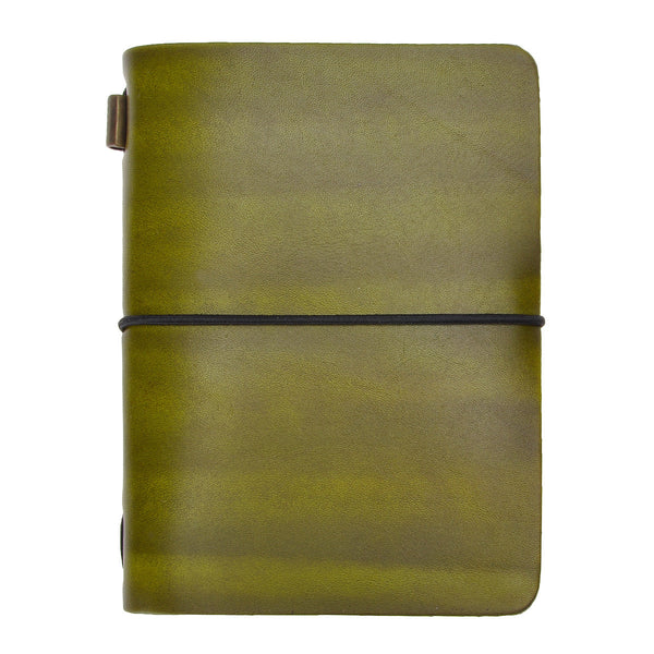 Vintage Handmade Refillable Greenyellow Leather Passport Size Travelers Journals Diary Notepad Notebook