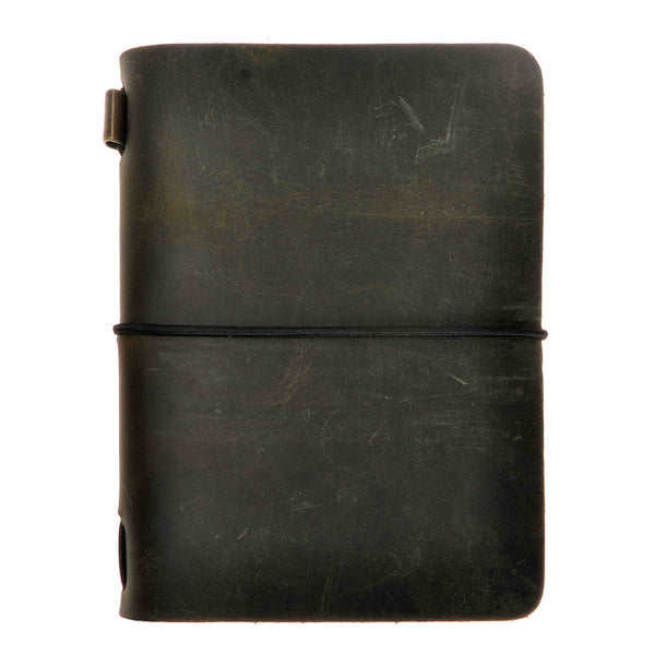 Vintage Handmade Refillable Dark Green Leather Passport Size Travelers Journals Diary Notepad Notebook