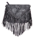 Women Handmade Dip Dye Leather Fringe Bohemian Tassel Studed Cross Body Bag