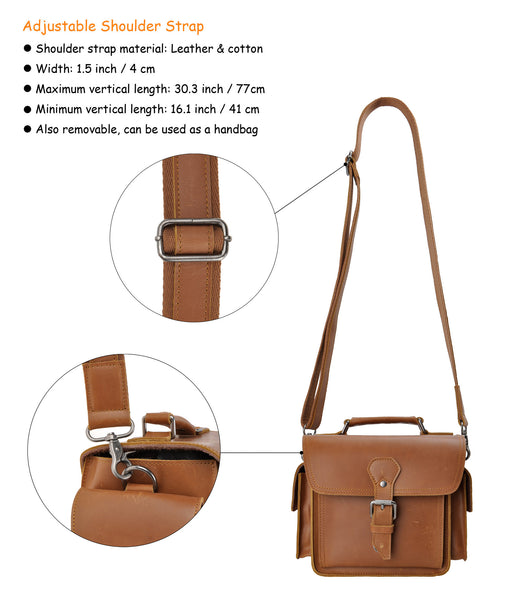 592370a75c2 ... Brown Leather Camera Bag Vintage DSLR SLR Bag Removable Shockproof  Padded Camera Case Small Messenger Shoulder ...