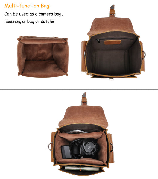 4f2e24b6c59 ... Brown Leather Camera Bag Vintage DSLR SLR Bag Removable Shockproof  Padded Camera Case Small Messenger Shoulder