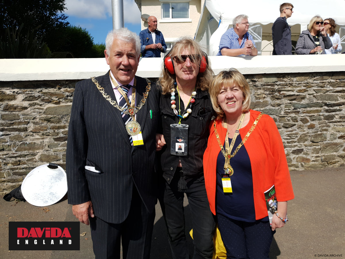 Mayor, Fid the Lid and the Mayoress at the start line of the Classic TT in 2018