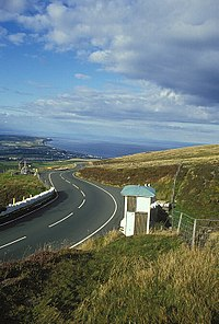 TT Race Marshal Signal Box on the A18 Mountain Road looking north towards Guthrie's Memorial and the Point of Ayre.