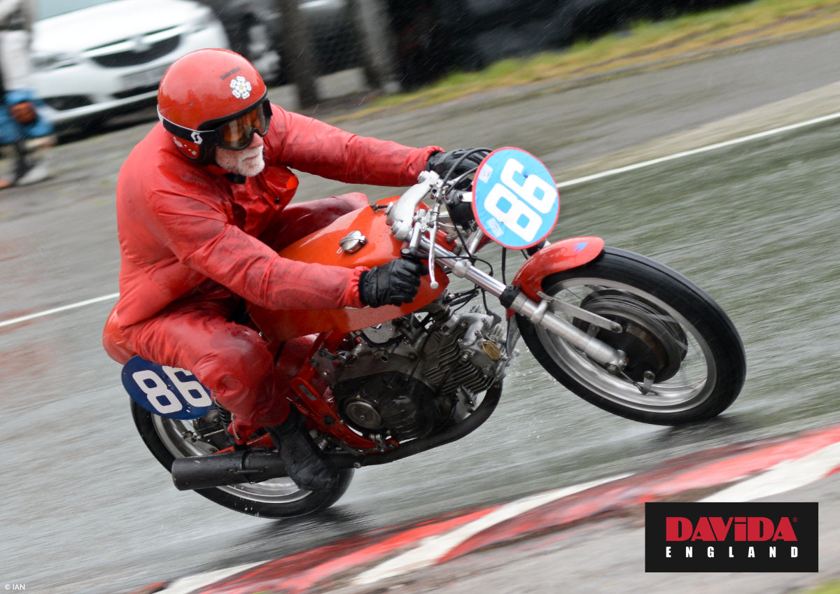 Rival racer Bill Swallow warming up for the 2019 Pre TT