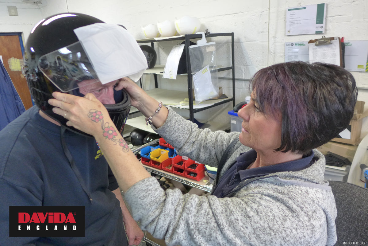 Louise ensures the Mike Hose is 100% happy with his new Davida Koura helmet