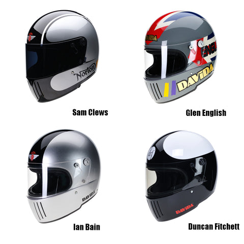 davida koura full face motorcycle helmet classic bike racing
