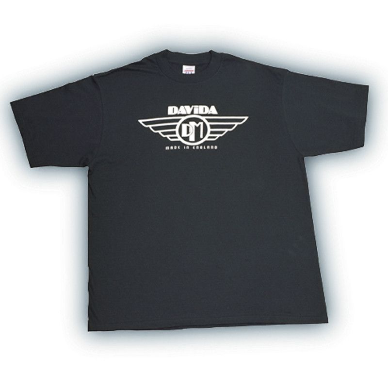 Davida T-Shirts  - Black with White Davida Wing Logo - Davida Motorcycle helmets