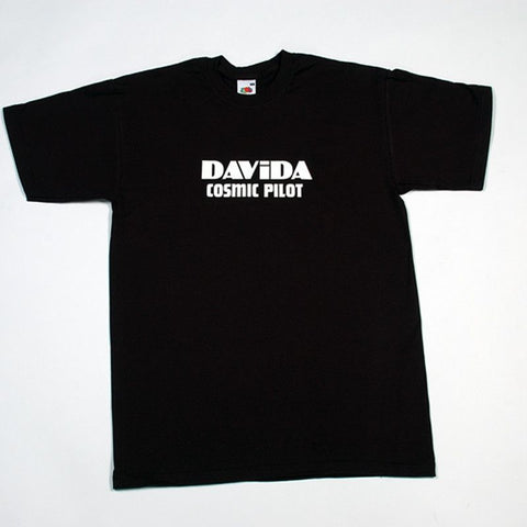 Davida T-Shirts  - Black with White Davida Cosmic Pilot Logo - Davida Motorcycle helmets - 1