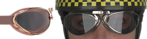 Aviator Retro Standard Goggles - Brown Pneumatic Rubber - Davida Motorcycle helmets - 1