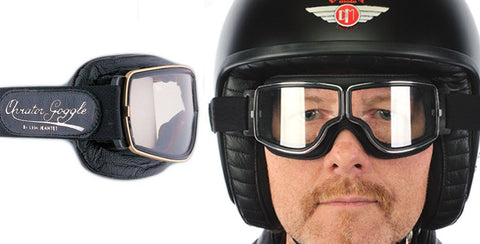 Aviator Retro Pilot T1 Goggles - Black Leather - Davida Motorcycle helmets - 1