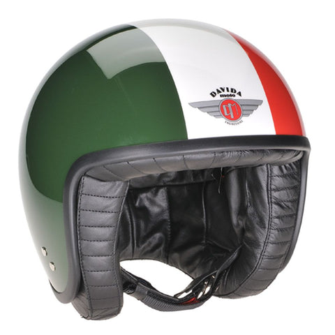80290 - Green White Red Davida Jet Helmet - Davida Motorcycle helmets