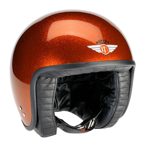 80356 - Cosmic Flake Orange Davida Jet Helmet - Davida Motorcycle helmets