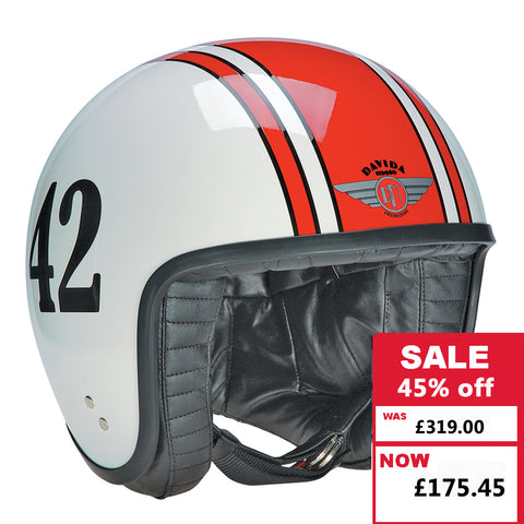 Jet Helmet - White with Red 42