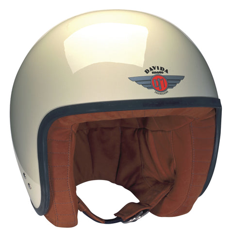 80513 - Cream Brown Leather Davida Jet Helmet - Davida Motorcycle helmets