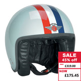 Jet Helmet - Eggshell Blue with Red White Blue Stripe and Target