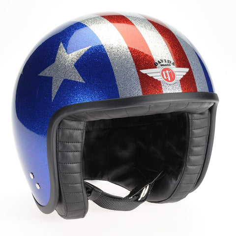 80755 - Cosmic Flake Blue Red 3 Star Davida Jet Helmet - Davida Motorcycle helmets - 1