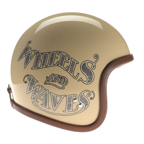 90028 - Cream Wheels and Waves 2016 Davida Speedster Helmet - Davida Motorcycle helmets - 1