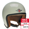 Speedster Helmet - Cream with Brown Leather