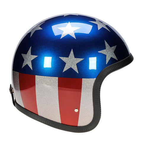 90543 - Metallic Stars and Stripes Davida Speedster Helmet - Davida Motorcycle helmets - 1