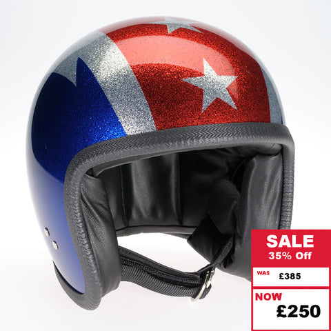 Speedster Helmet - Cosmic Flake Blue and Red with Thunderbolt