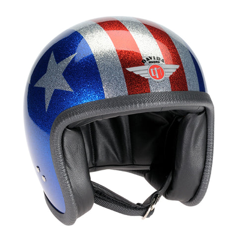 90755 - Cosmic Flake Blue Red 3 Star Davida Speedster Helmet - Davida Motorcycle helmets - 1