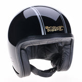 93003 - Brough Superior Black Silver PS Gold Davida Speedster v3 Motorcycle Helmet
