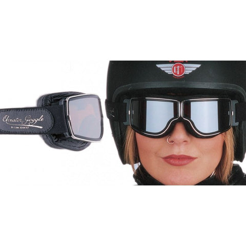 Aviator Retro Pilot T3 Goggles - Black Leather - Davida Motorcycle helmets - 1