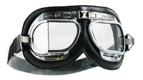 Halcyon Mk 4 Silver Cross Goggles - Black Leather - Davida Motorcycle helmets