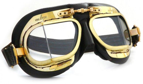 Halcyon Mk 49 Antique Goggles - Black Leather - Davida Motorcycle helmets