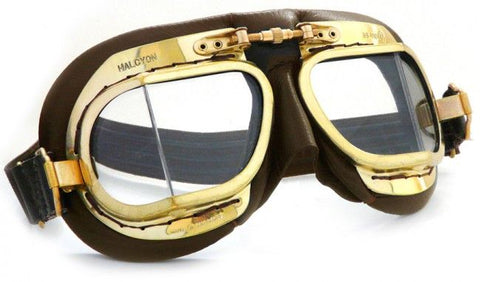 Halcyon Mk 49 Antique Goggles - Brown Leather - Davida Motorcycle helmets