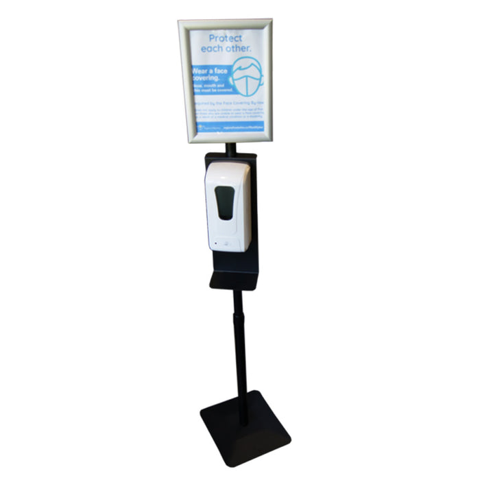 Heavy hand sanitizer aluminum stand with aluminum SNAP Sign Frame