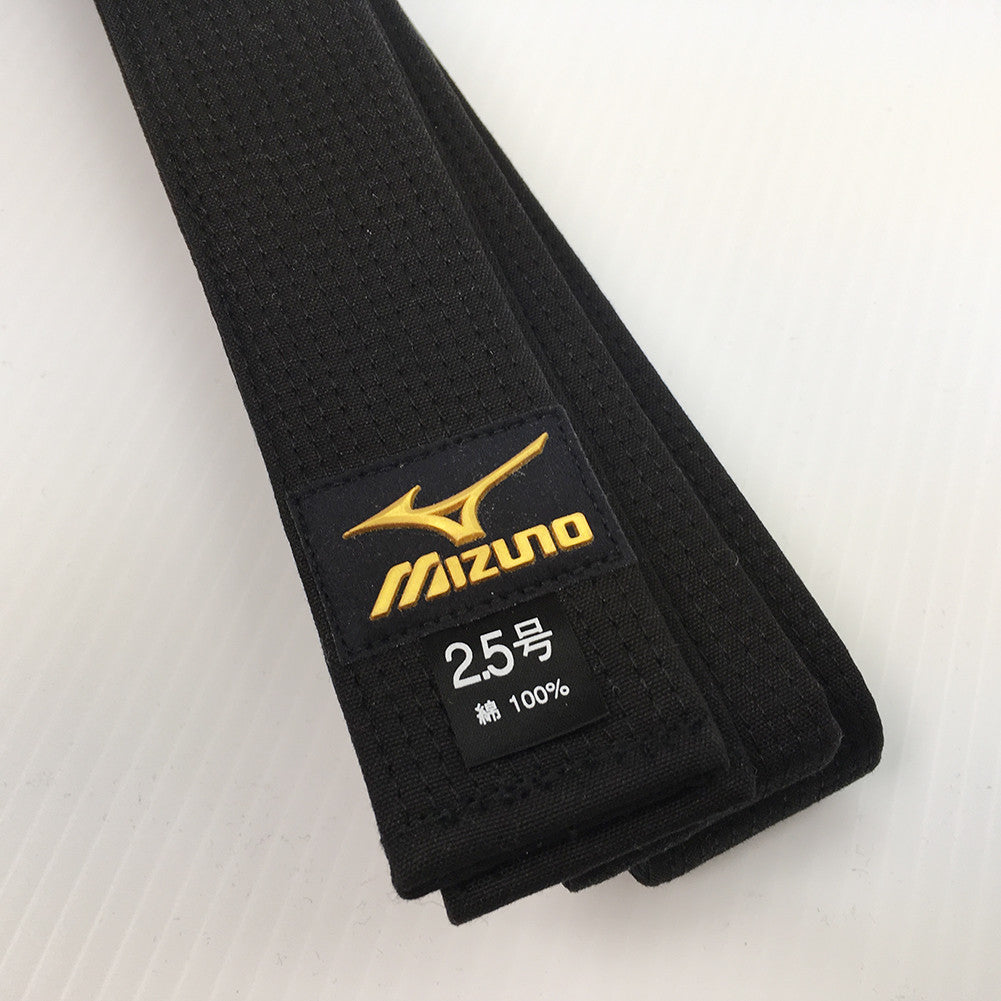 Mizuno Japanese Made Black Belt with Gold Label