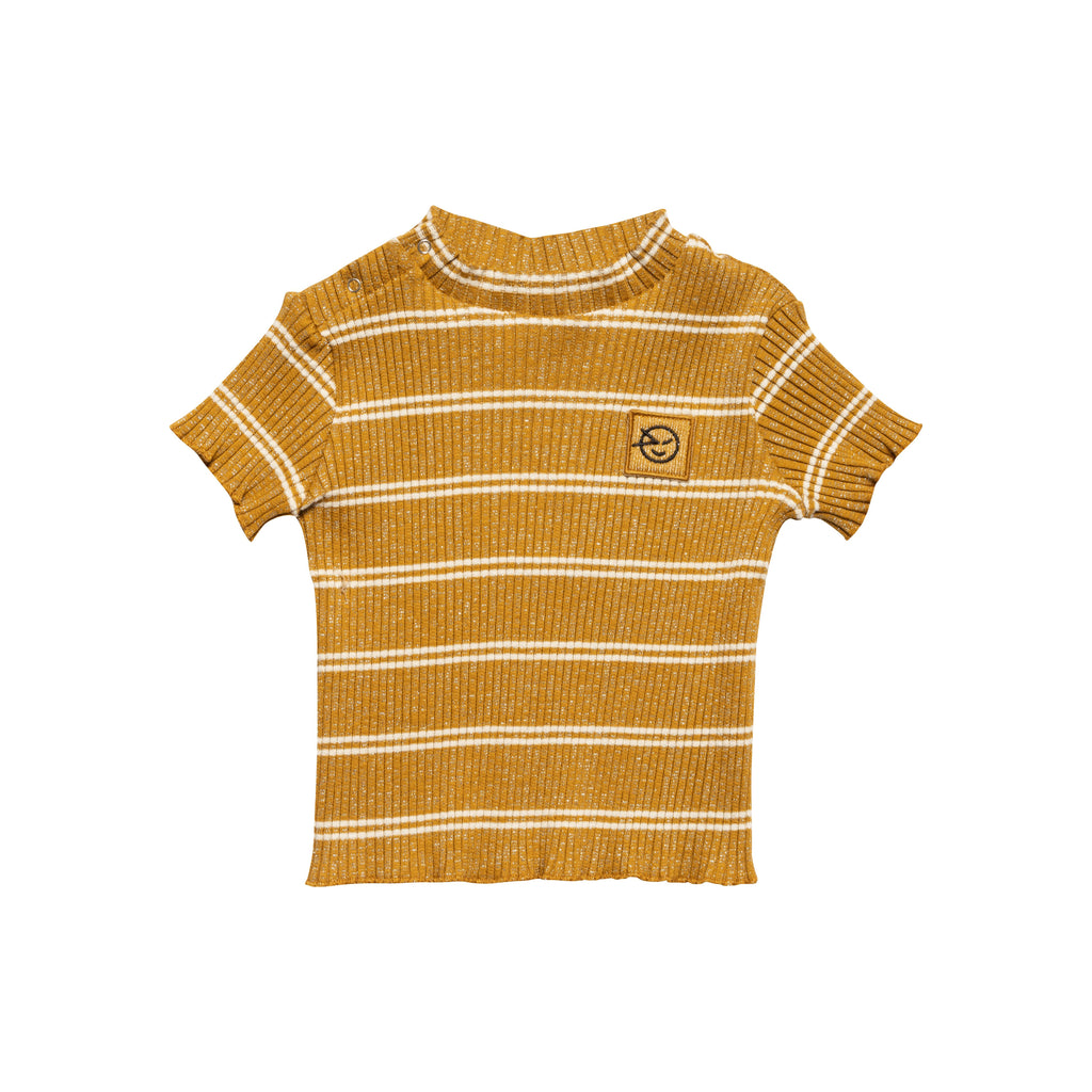 Short Sleeve Demi Turtle Neck - Big Rib Golden