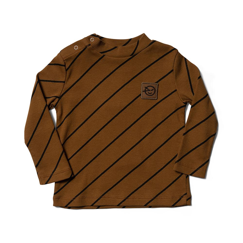 Long Sleeve Demi Turtle Neck - Rubber Diagonal Stripe