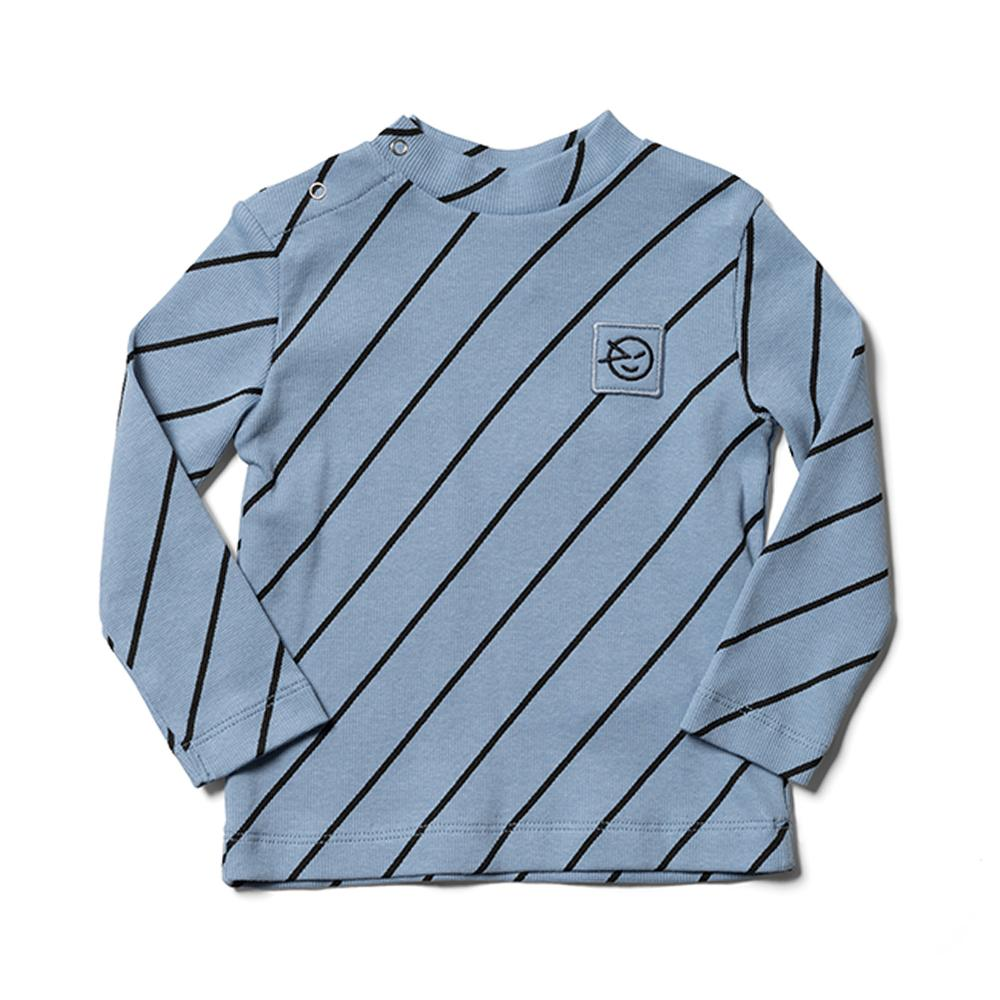 Long Sleeve Demi Turtle Neck - Dusk Blue Diagonal Stripe