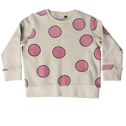 Elbow Patch Sweat - Hot Pink Dot