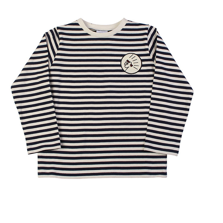Stripe Long Sleeve Tee - Navy/Ecru