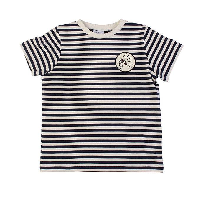 Stripe Short Sleeve Tee - Navy/Ecru