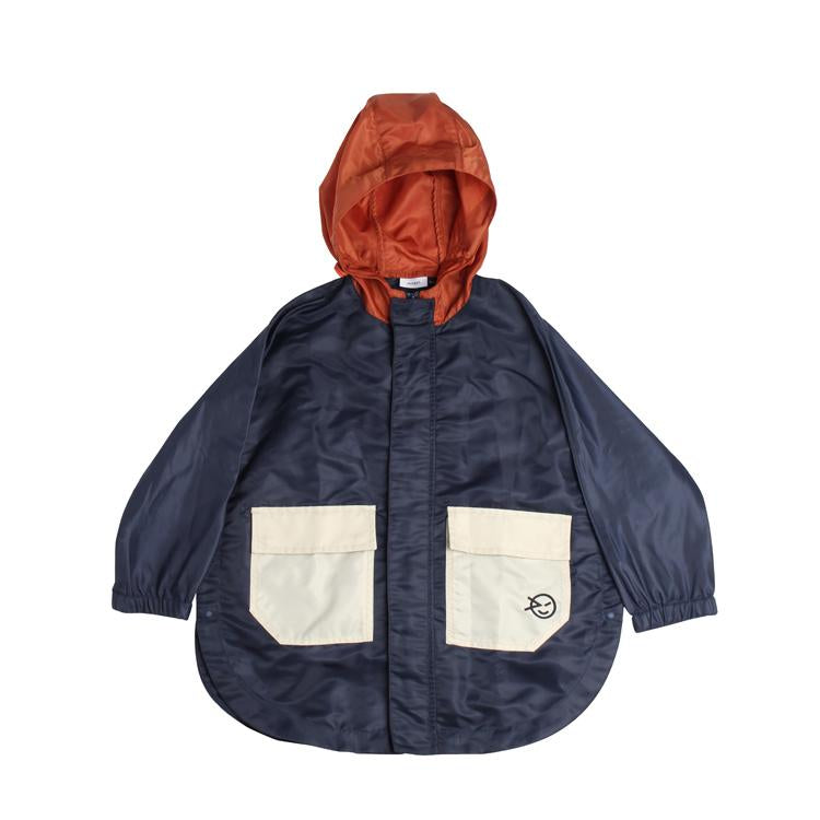 Zip Through Poncho - Navy/Rust
